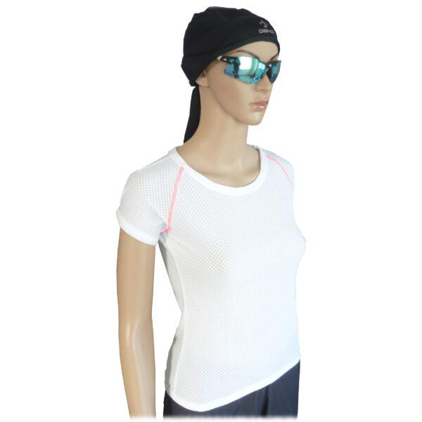 maglia intima ciclismo donna maniche corte colore bianco
