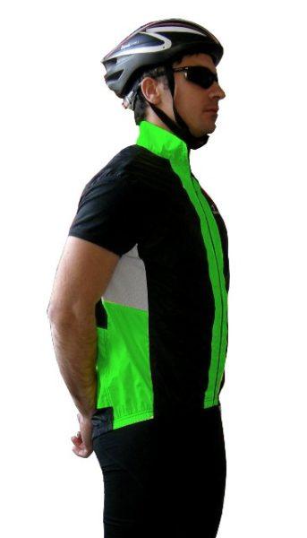 gilet ciclista modello shell colore nero verde