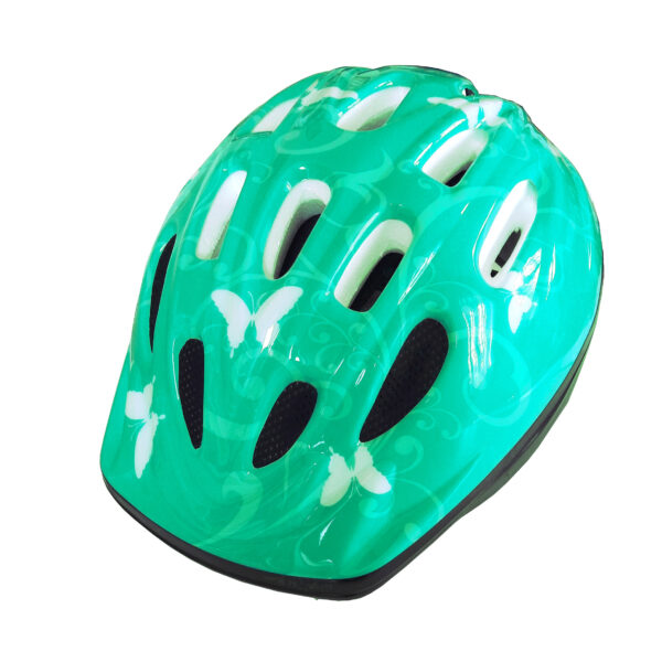 casco bambina pdr butterfly colore turchese