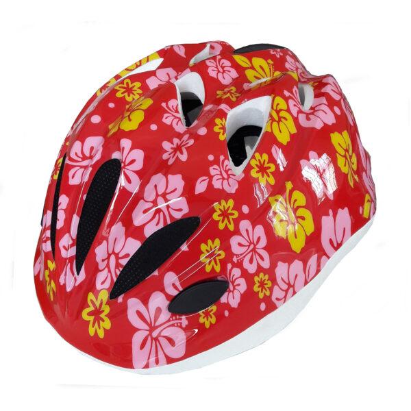 casco bambina pdr kika colore rosso con fiori