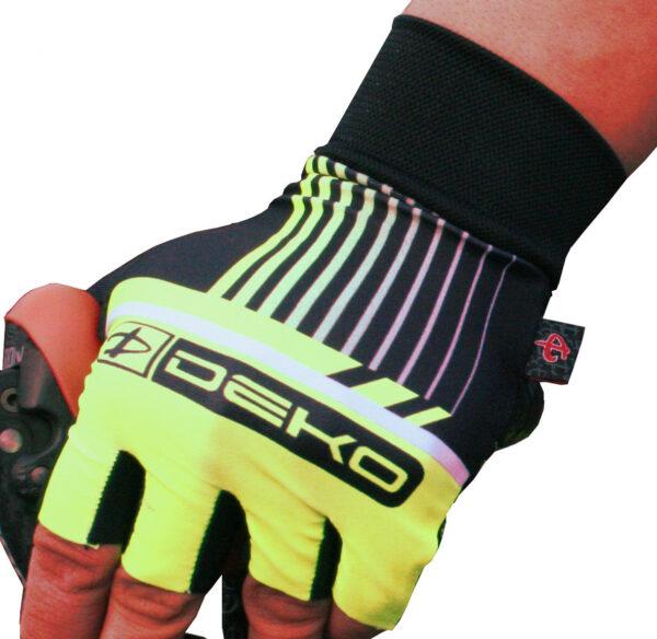 guanti ciclista modello style colore giallo fluorescente nero