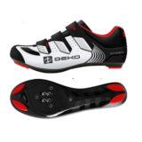 Scarpe bici da strada, modello Fly, colore bianco/nero/rosso