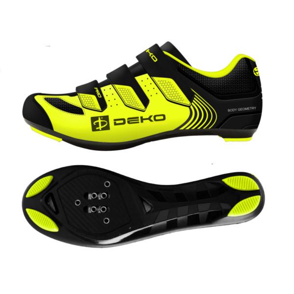 scarpe bici da strada modello fly colore giallo fluorescente nero