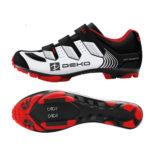 Scarpe mountain bike, modello Cross, colore bianco/nero/rosso
