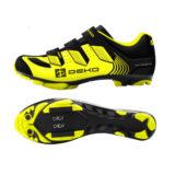 Scarpe mountain bike, modello Cross, colore giallo fluorescente/nero