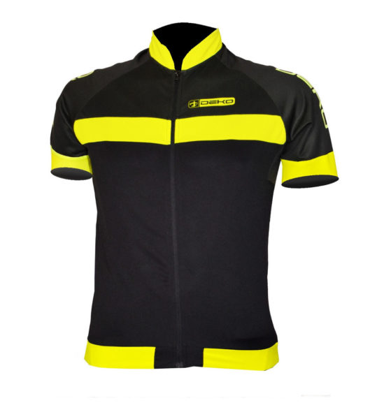 maglia estiva maniche corte air nero giallo fluorescente deko sports