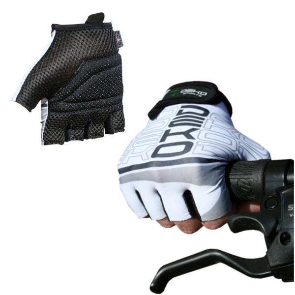 guanti ciclista start bianco/nero deko sports
