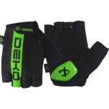 Guanti ciclista, modello Line, colore nero/verde fluorescente