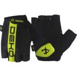 Guanti ciclista, modello Line, colore nero/giallo fluorescente