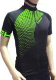 Maglia estiva maniche corte, modello Tech, colore nero/verde fluorescente
